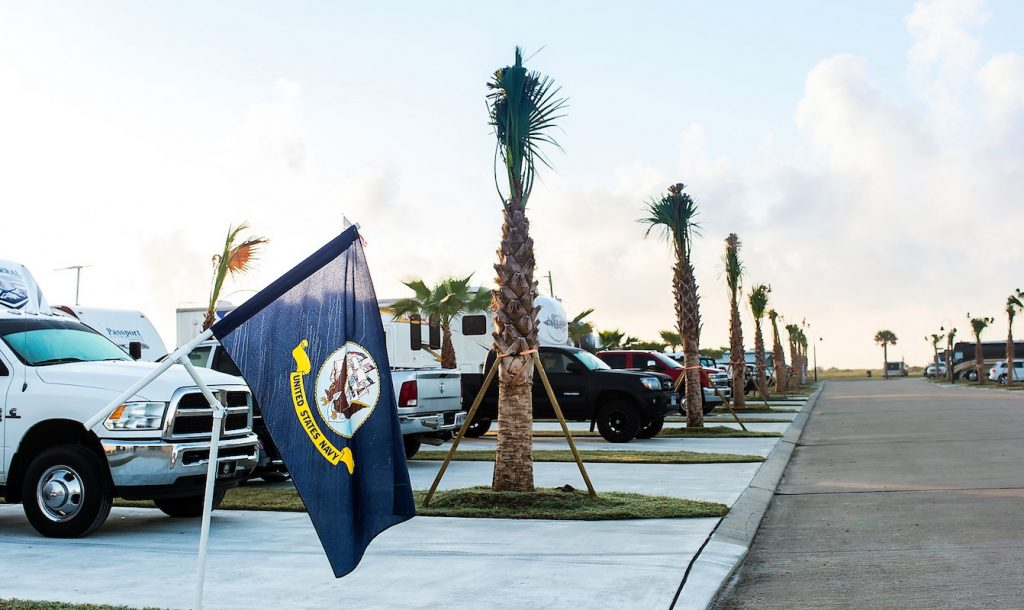 US Navy flag in front of RV site