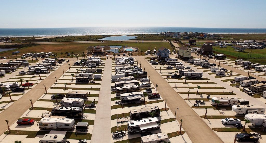 Ariel shot of Stella Mare RV Resort - Galveston RV Park