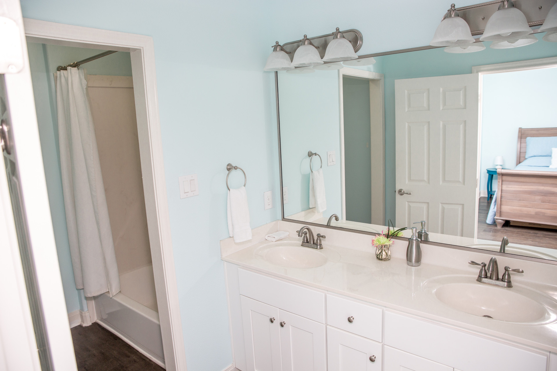 Into the Blue vacation house master bathroom in Galveston RV park