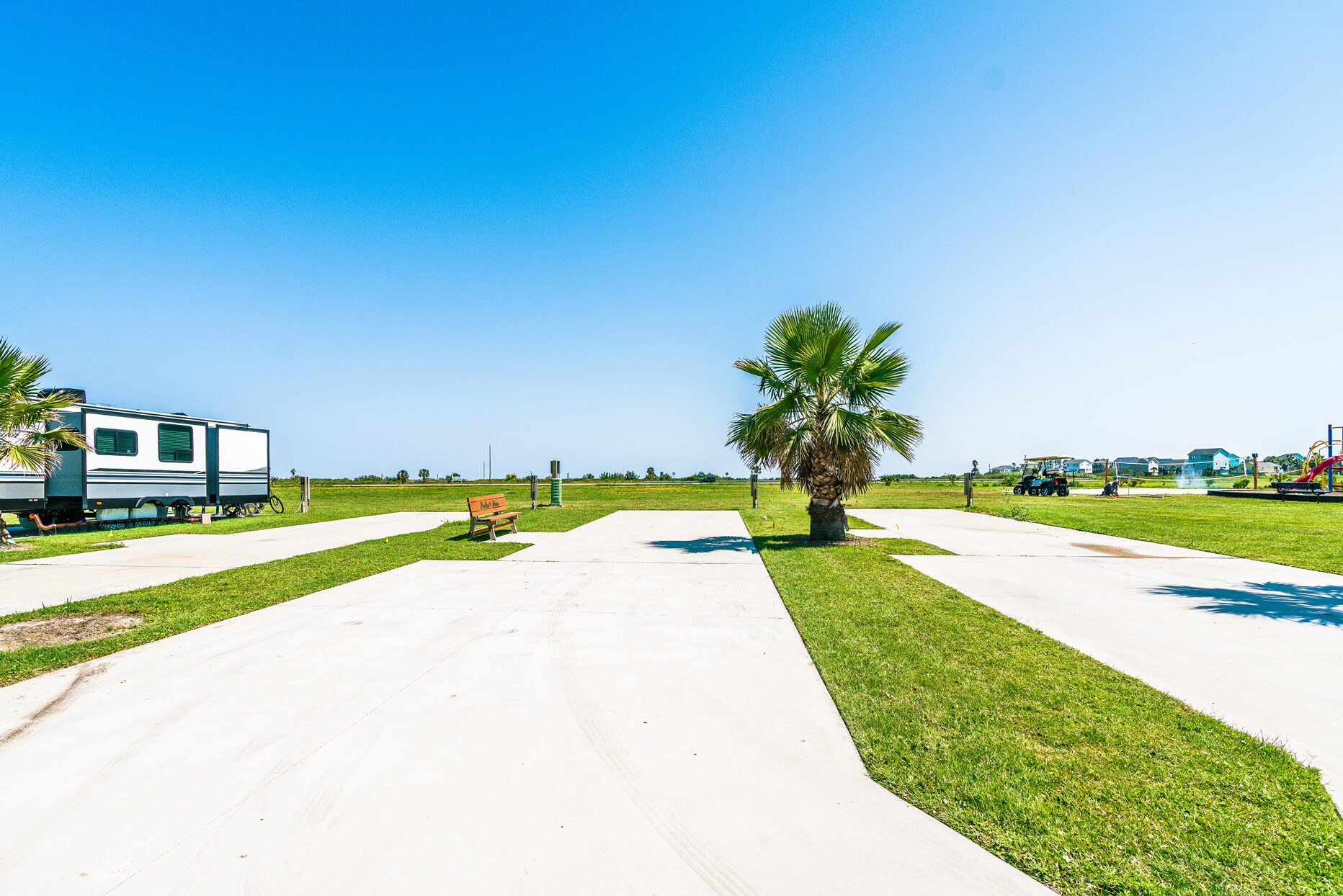 Open Galveston RV park site at Stella Mare RV Resort