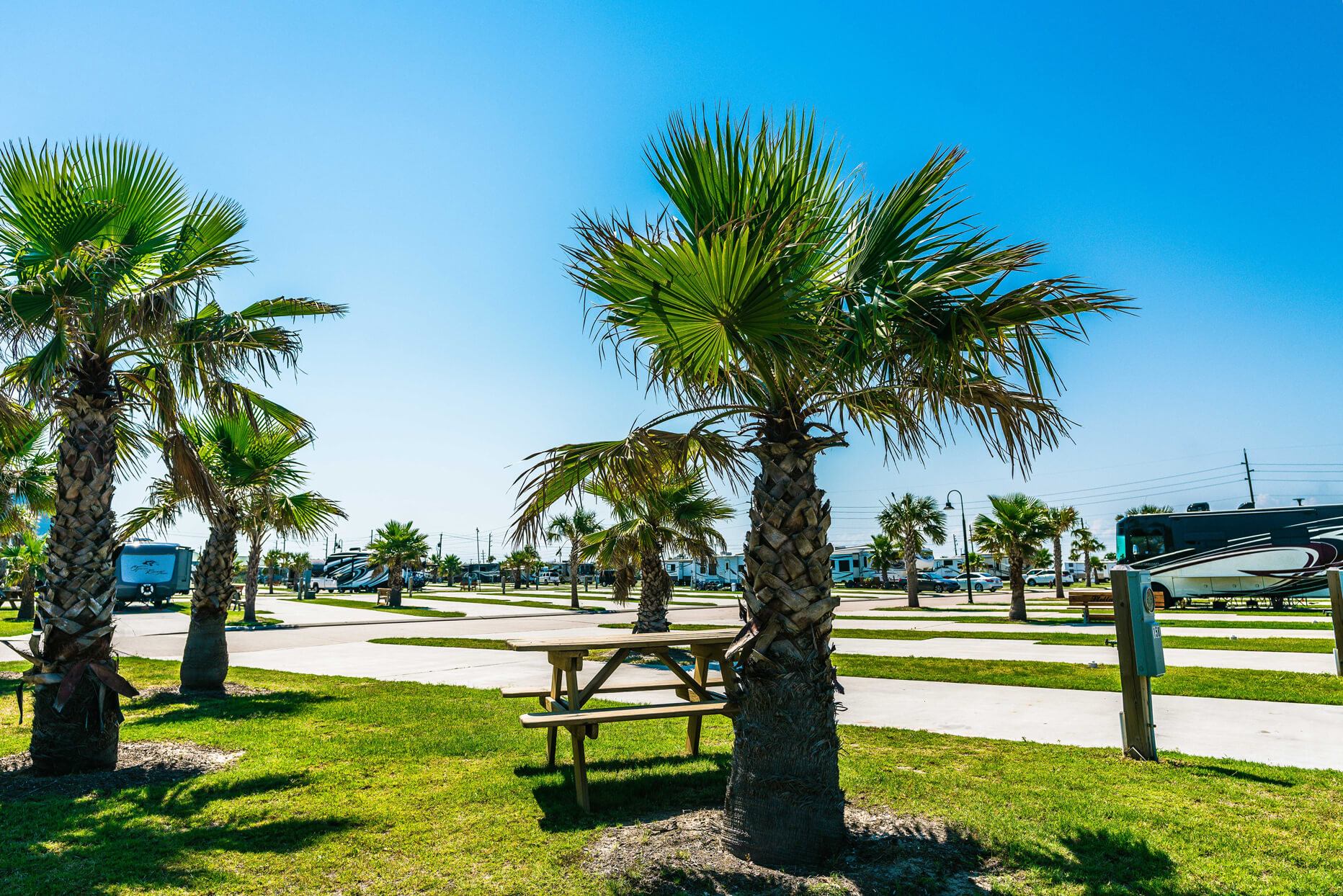Open Galveston RV campground site at Stella Mare RV Resort